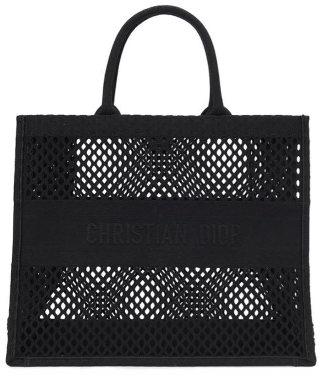 *法國代購*Dior Book Tote 輕便袋 黑色網眼布刺繡
