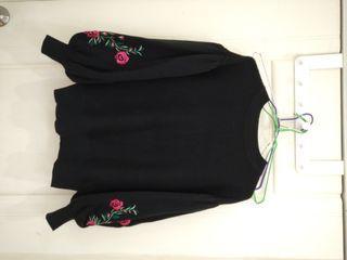 GU 刺繡泡泡袖針織上衣