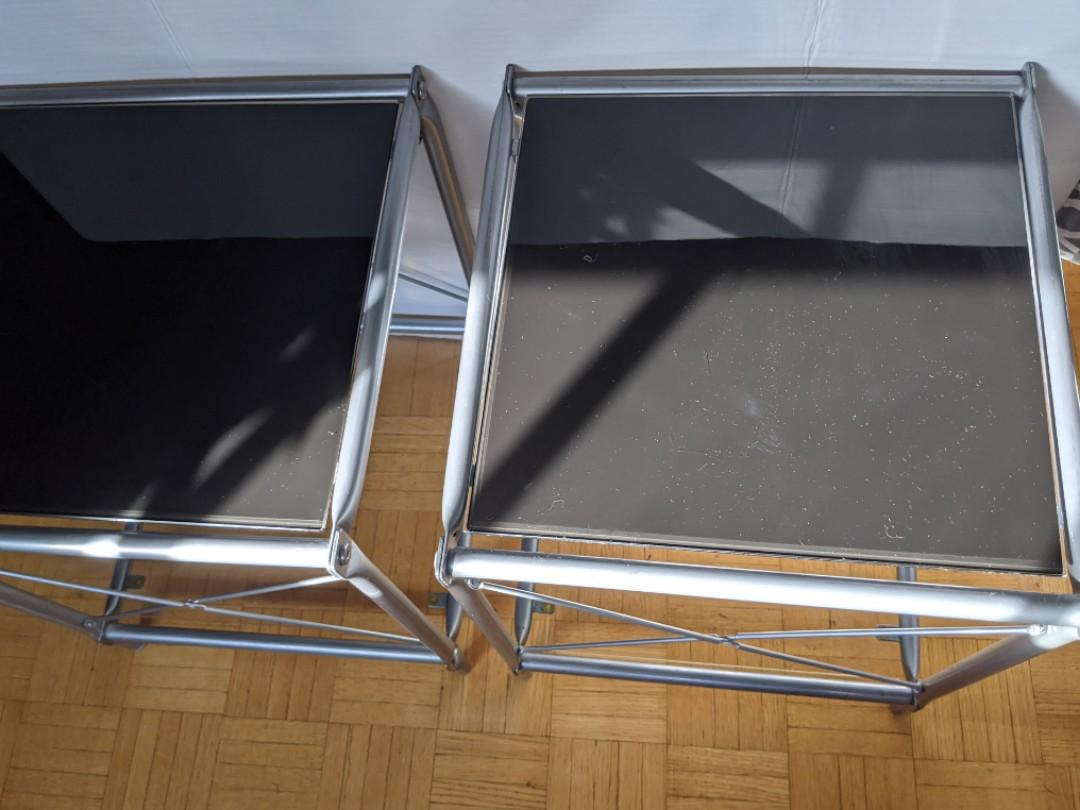 IKEA metal & glass side tables set of 2