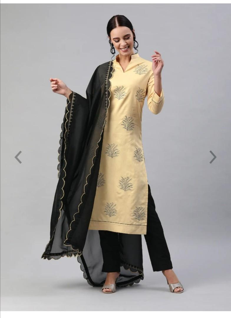 Inddus Women Beige & Black Embroidered Kurta with Trousers & Dupatta, Product Code: 11611252