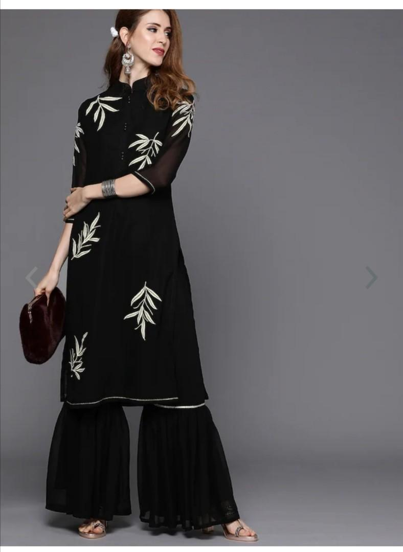 Inddus Women Black Embroidered Kurta with Sharara, Product Code: 11434648