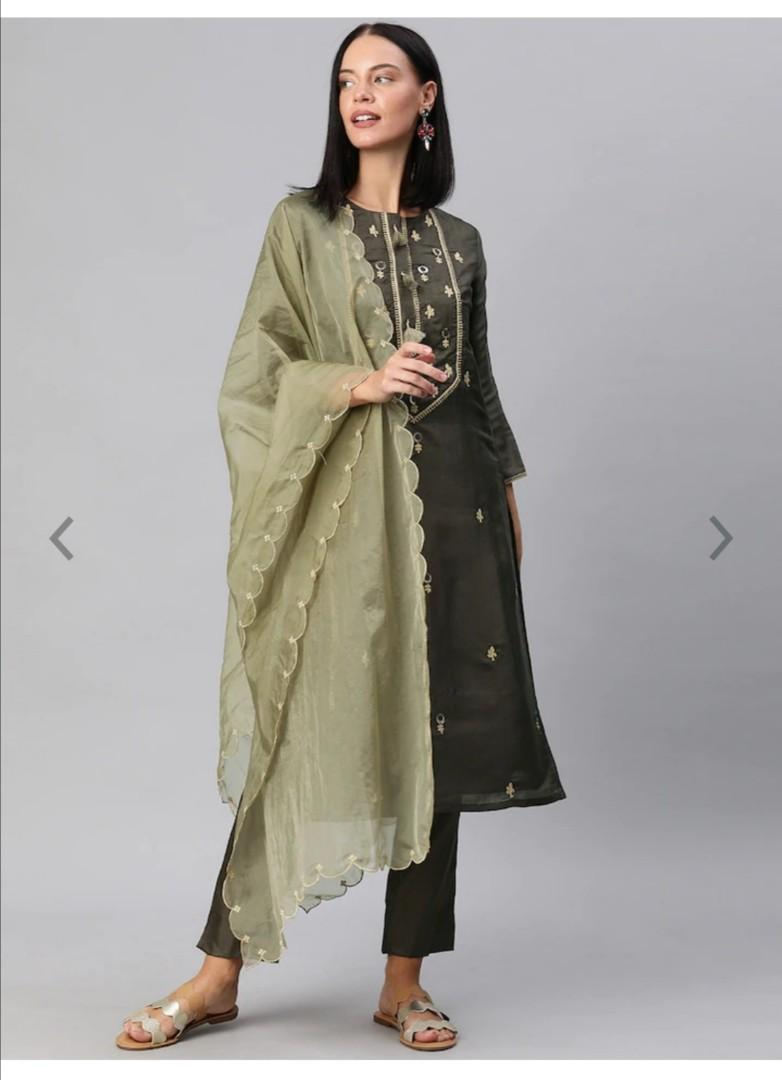 Inddus Women Charcoal Grey Embroidered Kurta with Trousers & Dupatta, Product Code: 11611288