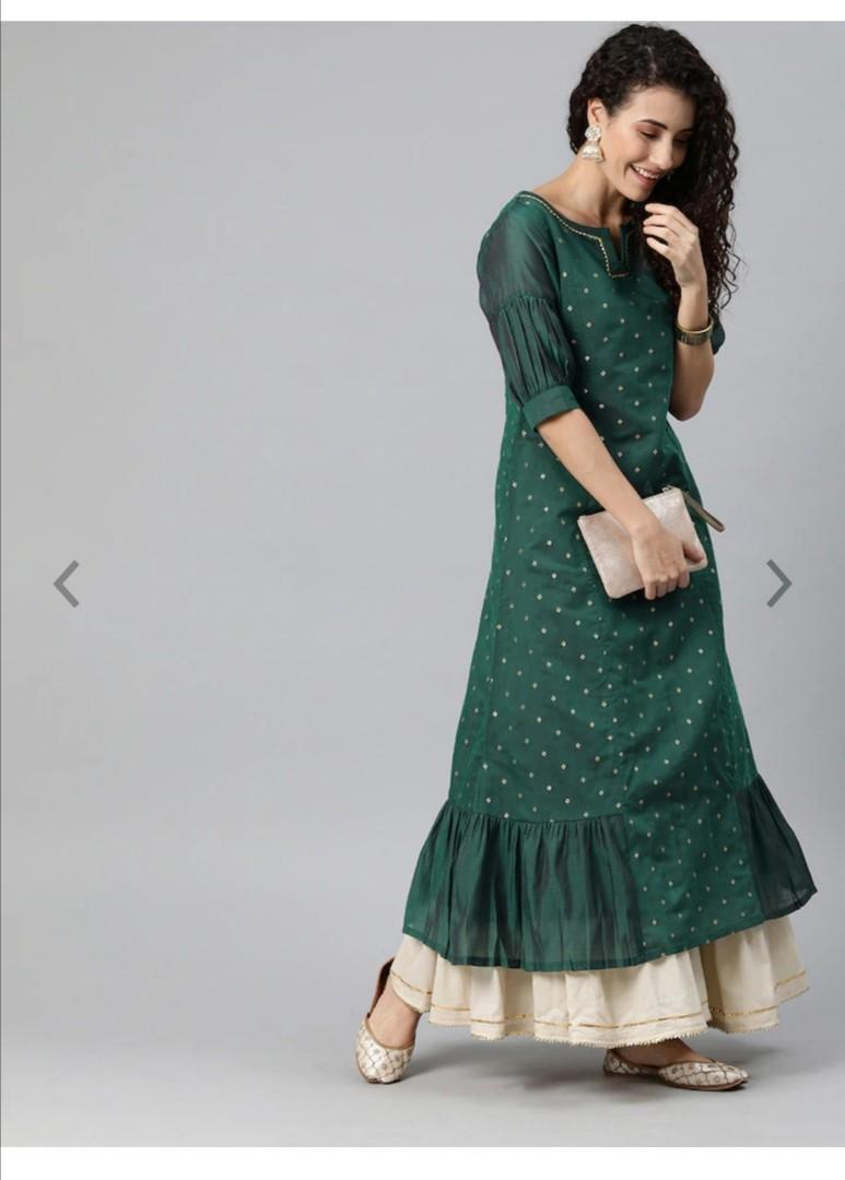 Inddus Women Green & Golden Woven Design Gathered A-Line Kurta, Product Code: 12130784