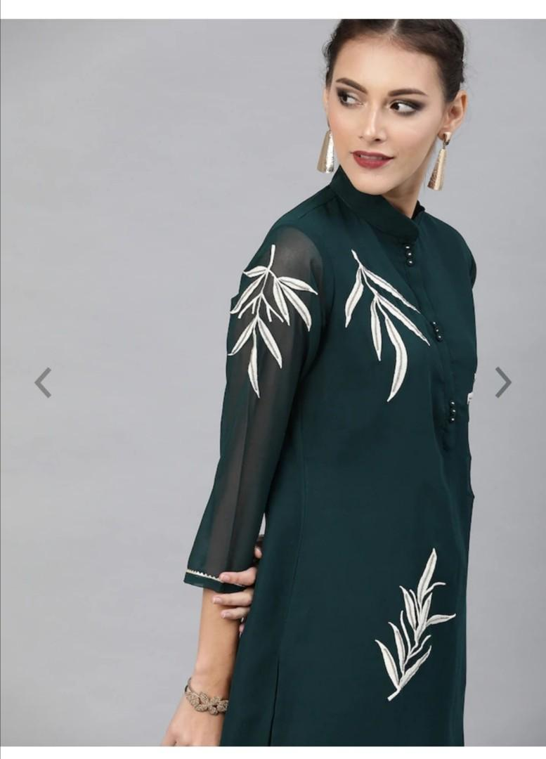 Inddus Women Teal Green Embroidered Kurta with Sharara, Product Code: 12491452