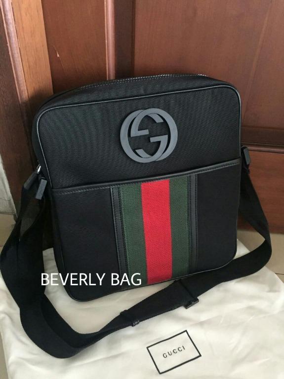 jual tas bag Gc Slingbag Logo with Stripe LEATHER MIRROR QUALITY - hitam