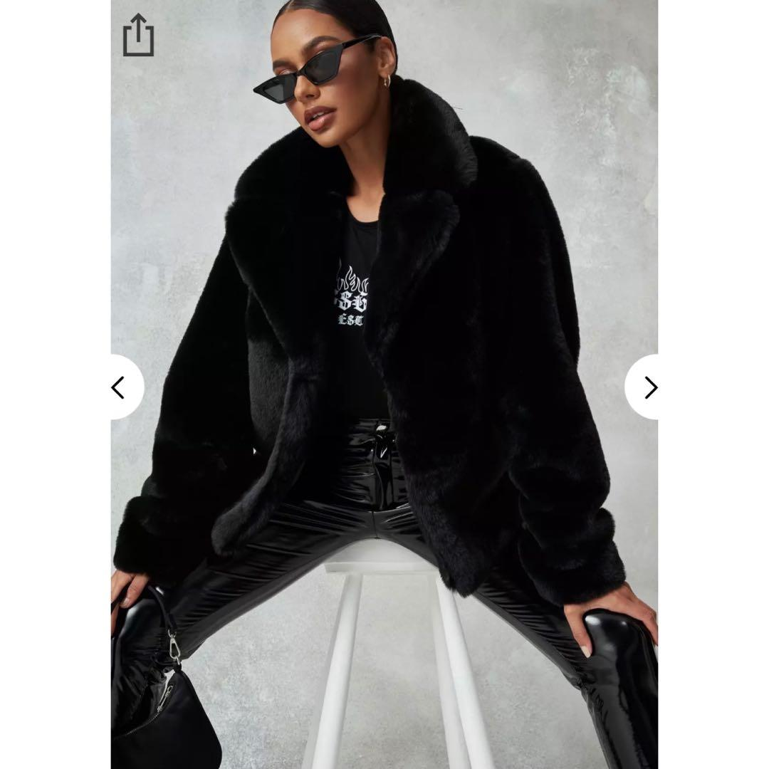 Missguided Petite Black Short Collar Faux Fur Coat