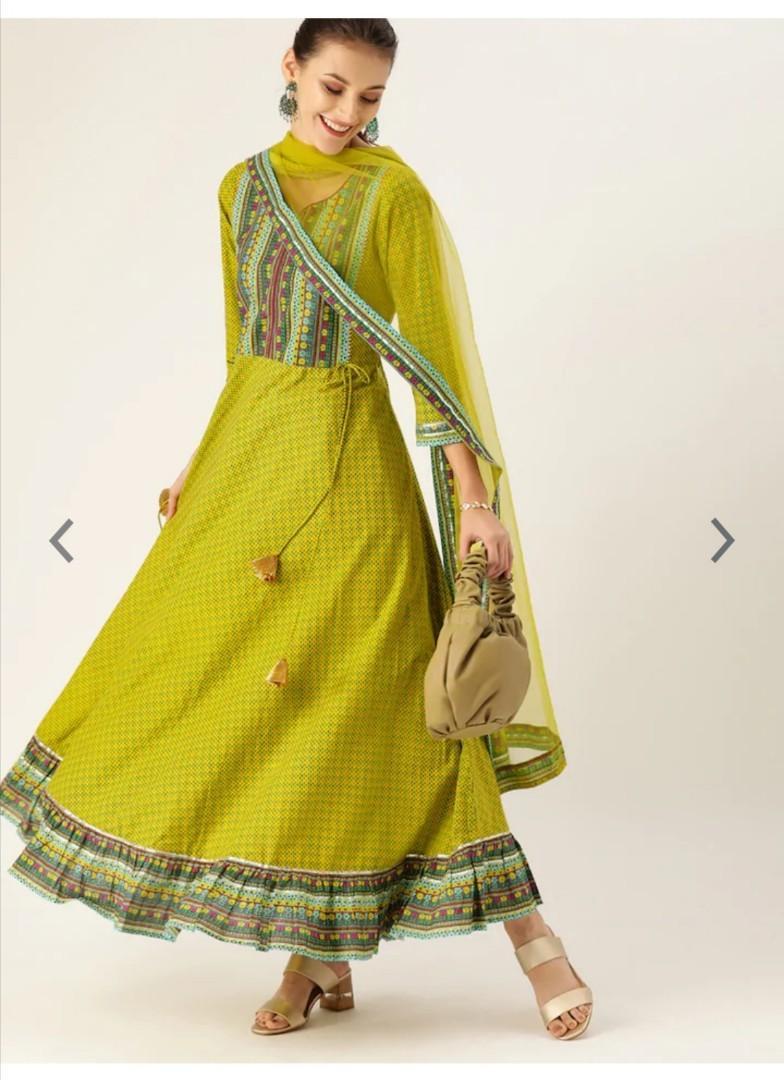Varanga Women Lime Green Printed Anarkali Kurta, Product Code: 12488792
