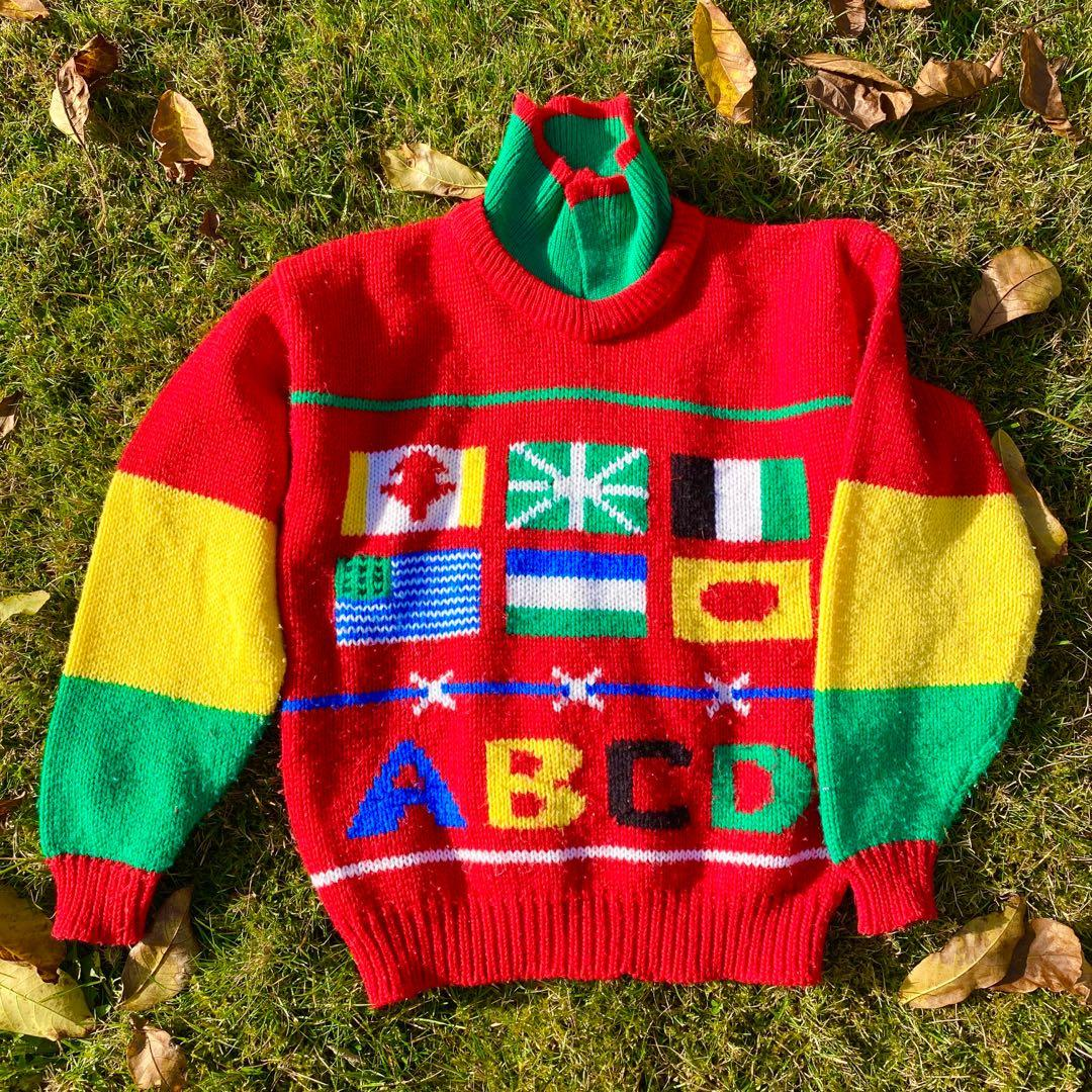 Vintage Colourful Decora ABCD Countries Polo Sweater