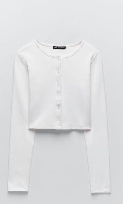 Zara White Ribbed Cropped Cardigan