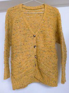 復古薑黃排扣針織外套 毛衣外套 #剁手價