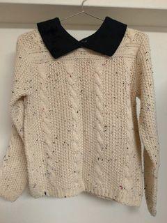 米白杏色麻花針織衫 有領長袖毛衣 毛線上衣 #剁手價