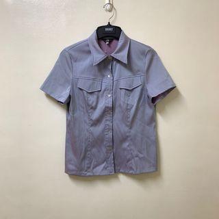 古著 美人魚 貝殼釦短袖襯衫