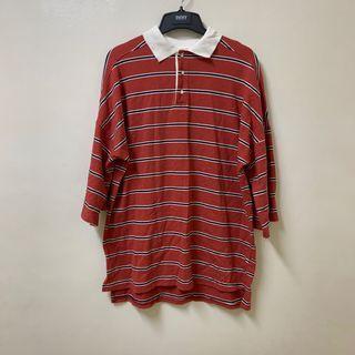 韓系 磚紅色 條紋七分袖polo襯衫