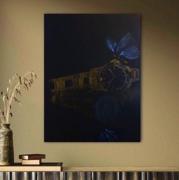 Art: watch and butterfly painting