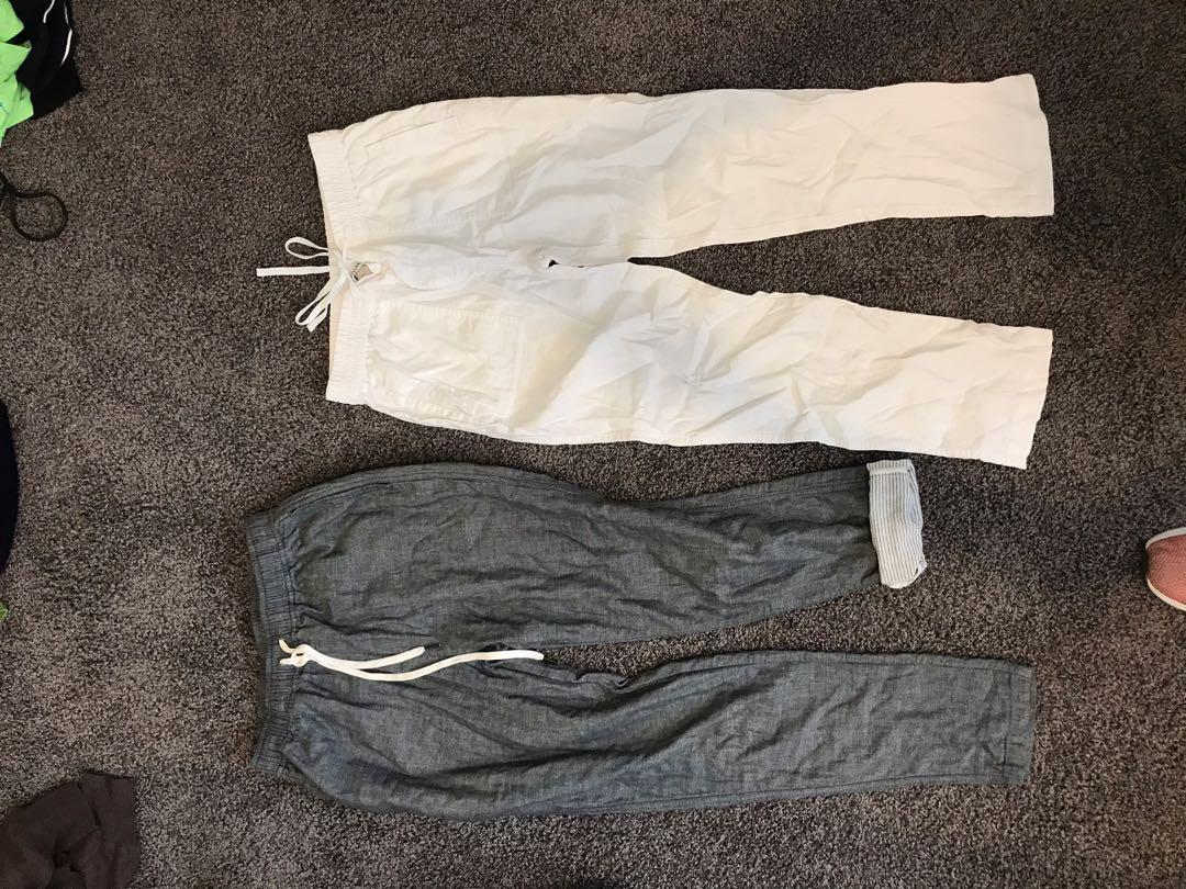 As colour, white linen pants