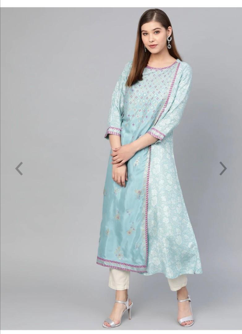 Biba Women Blue & Golden Floral Khari Print Layered A-Line Kurta, Product Code: 10452550