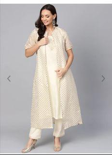 Biba Women Cream-Coloured & Golden Printed Layered Kurta with Trousers, Product Code: 10452576