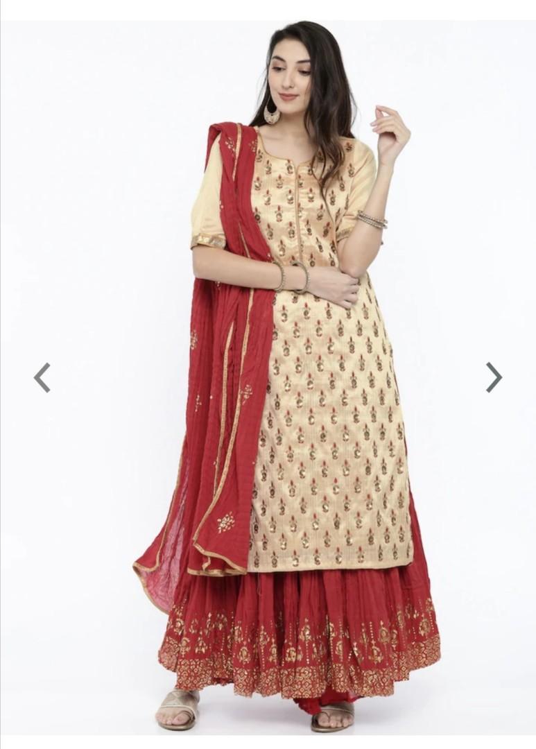 Biba Women Cream-Coloured & Red Embroidered Kurta with Skirt & Dupatta, Product Code: 6845199