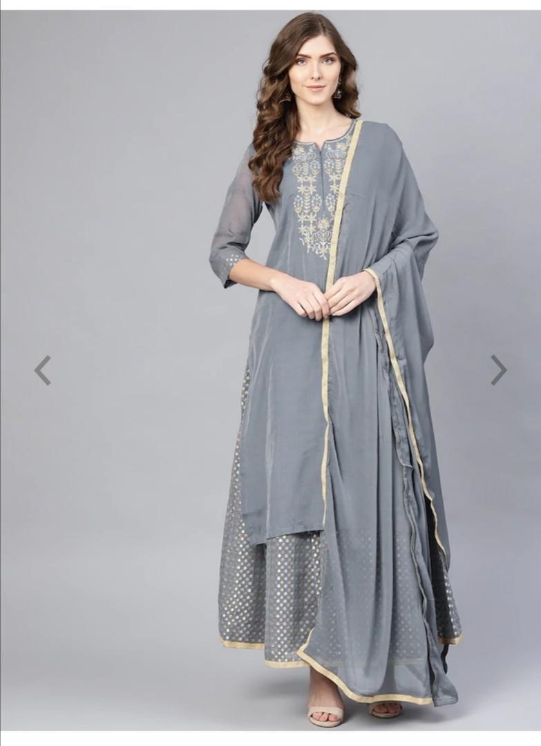 Biba Women Grey & Golden Yoke Design Kurta with Palazzos & Dupatta, Product Code: 10452532