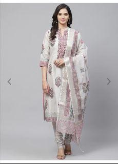 Biba Women Grey & Pink Floral Printed Kurta with Churidar & Dupatta, Product Code: 11620494