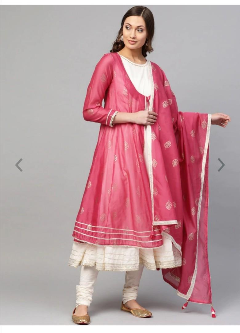 Biba Women Pink & Cream-Coloured Printed Layered Kurta with Churidar & Dupatta, Product Code: 10452528