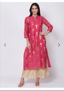 Biba Women Pink & Gold-Coloured Embroidered Straight Kurta, Product Code: 12267924