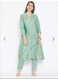 Biba Women Sea Green Solid Kurta with Trousers & Jacket, Product Code: 9314103