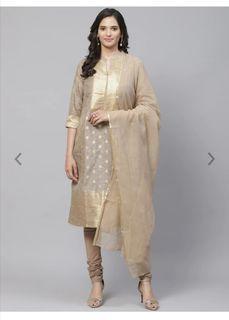 Biba Women Taupe & Golden Woven Design Kurta with Churidar & Dupatta, Product Code: 12436266