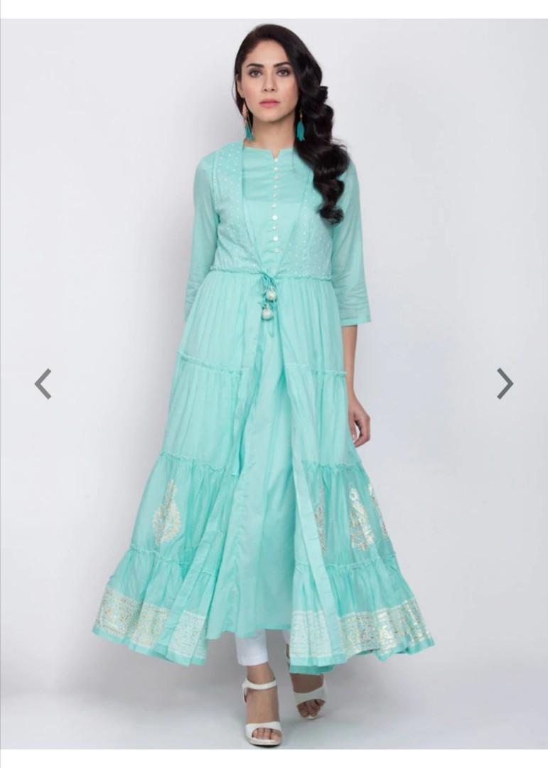 Biba Women Turquoise Blue & Beige Printed A-Line Kurta, Product Code: 12267910