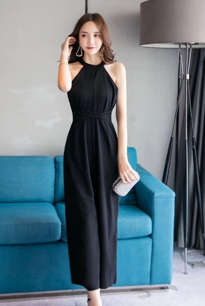 ✨Black Halter Wide Leg Jumpsuit Dress