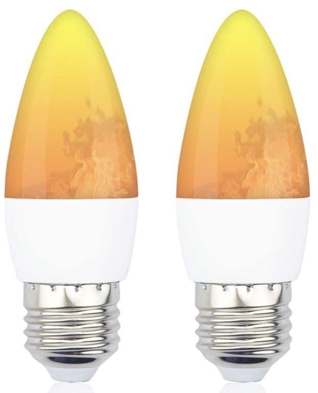 Brand new LED Flame Effect Light Bulb - Lustaled 3W B10 LED Flame Flickering Fire Lights  2 pack