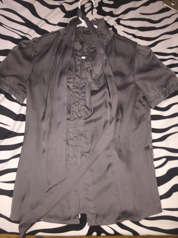Grey polyester blouse