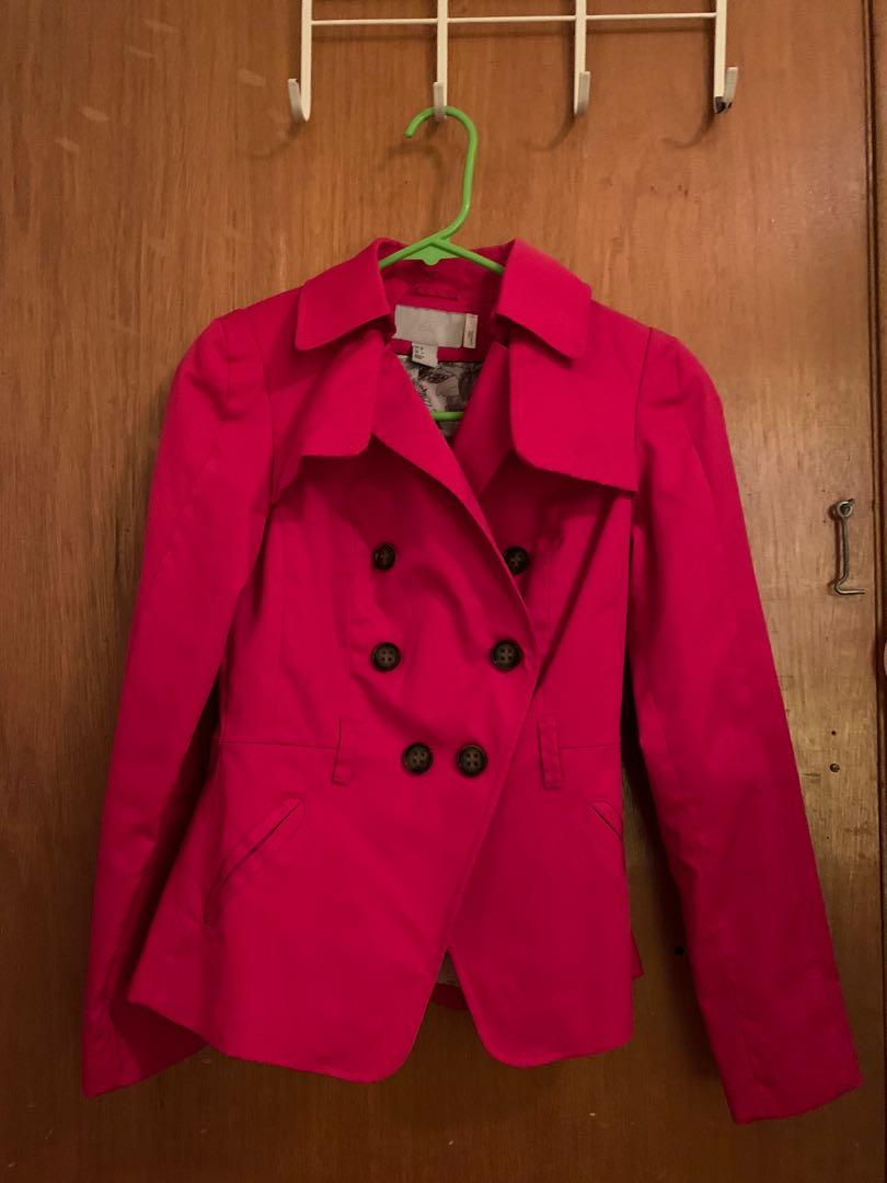 H&M Red Short Trench Coat Size XS