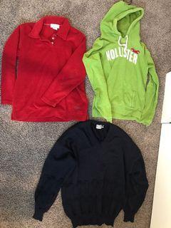Hollister, collared fleece, v neck jumper/sweatshirt/hoodie