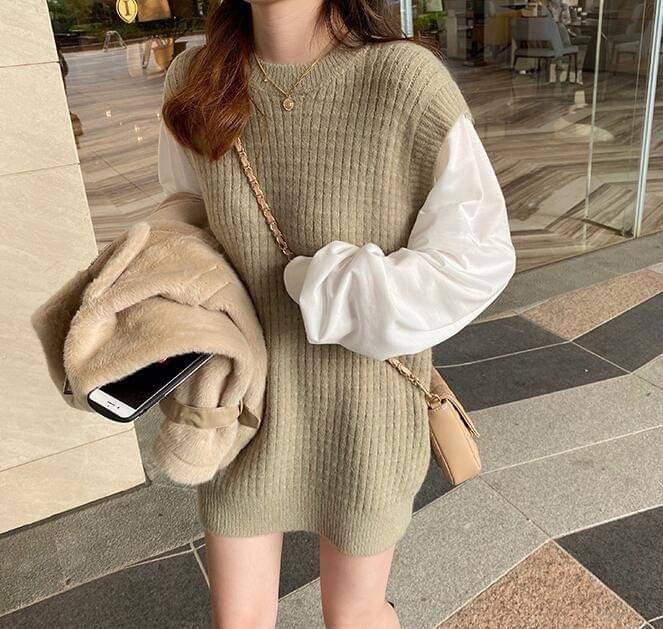 KB-1109-027-0311 ❤️ 韓國🇰🇷代購—氣質優雅假兩件拼接寬鬆長版針織上衣