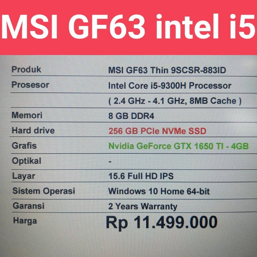 Laptop MSI GF63 intel i5