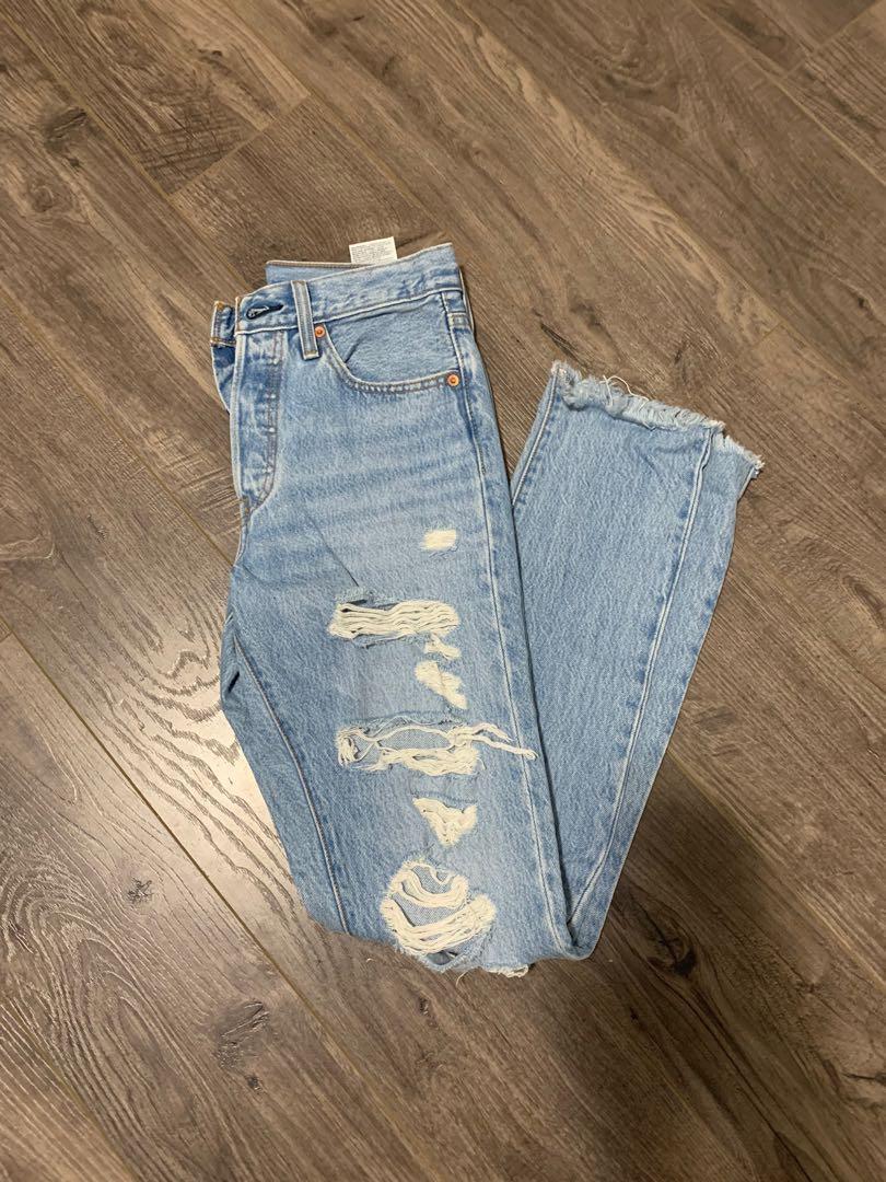 Levi's 501 destroyed denim never worn