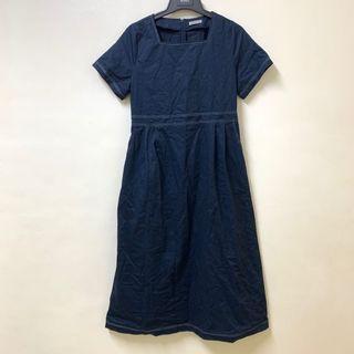 Meier.q 深藍色白車線 方領短袖洋裝