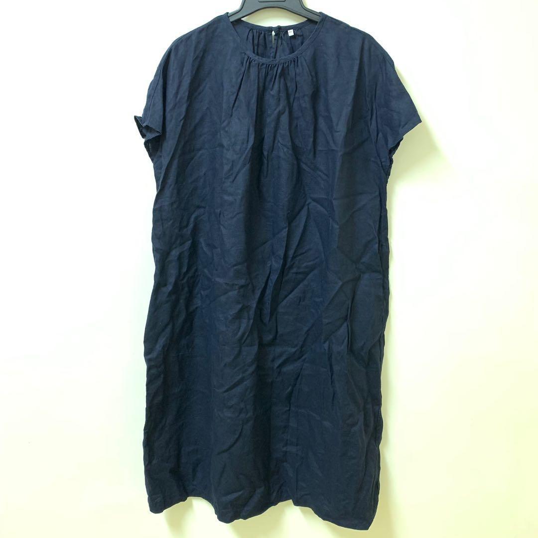 muji 無印良品 深藍色 亞麻洋裝 XL