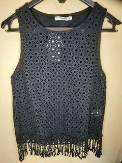 Pull&Bear Black Knitted Tank Top Cropted