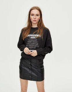 PULL&BEAR Faux Leather Mini Skirt With Button