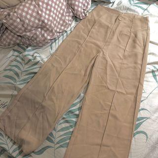 Sweesa杏色車線造型雪紡長褲 寬褲