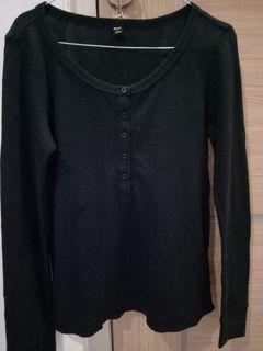 Uniqlo ribbed top hitam