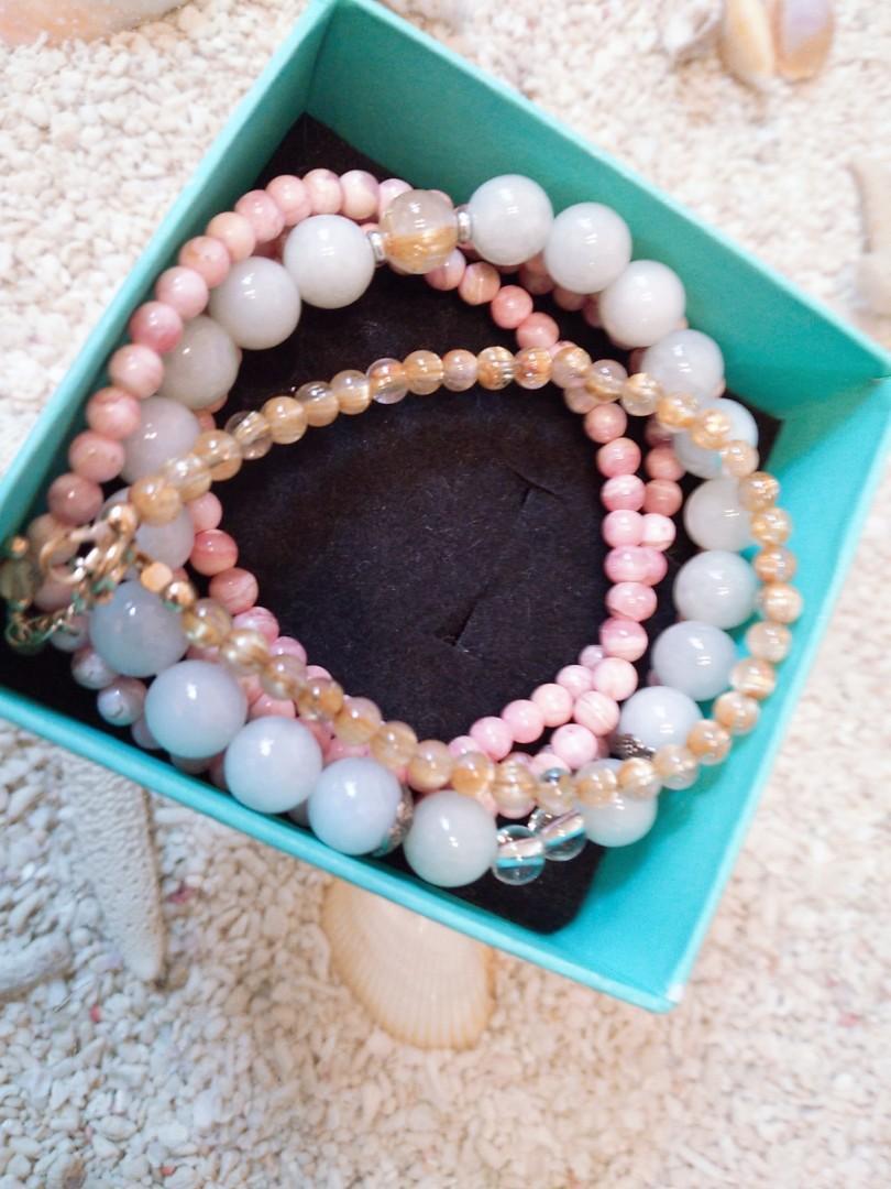 玫瑰石+玉珠+鈦晶手鏈