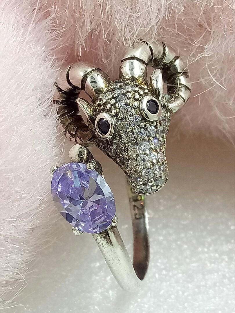 紫水晶純銀戒指