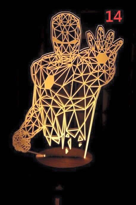 鋼鐵人 北歐風LED立體夜燈 實木底座