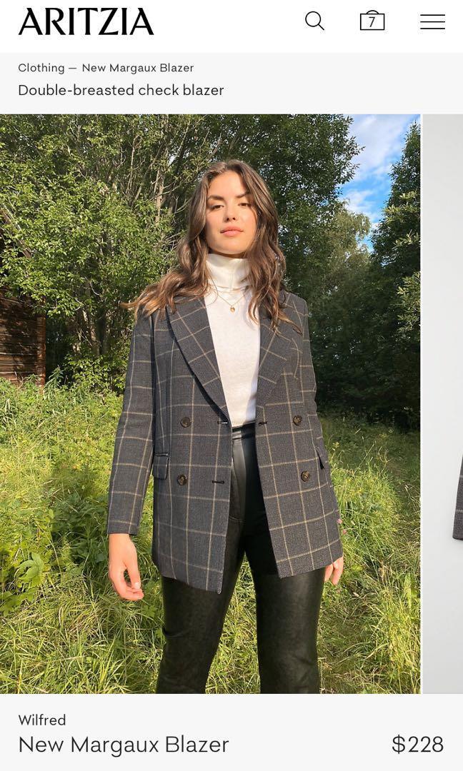 BNWT Aritzia Wilfred New Margaux Blazer Plaid Size 0