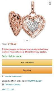Authentic New Thomas Sabo Heart Medallion Gold Plated Rose Gold Zirconia Pendant & Necklace Chain
