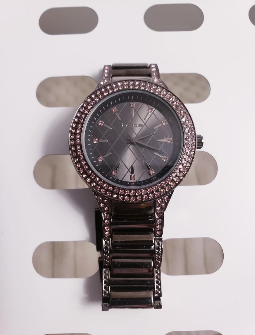 BEBE Grey Black Watch with Pink Crystals