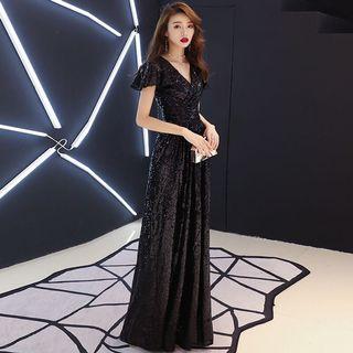 Black Sequin Evening Prom Wedding Dress Gown